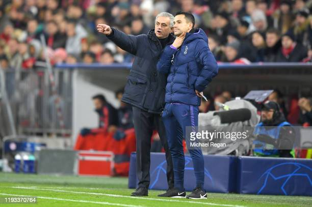 Jose Mourinho Manager of Tottenham Hotspur speaks with Assistant Coach Joao Sacramento during the UEFA Champions League group B match between Bayern...
