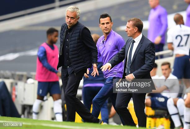 Jose Mourinho Manager of Tottenham Hotspur speaks with Brendan Rodgers Manager of Leicester City after the Premier League match between Tottenham...