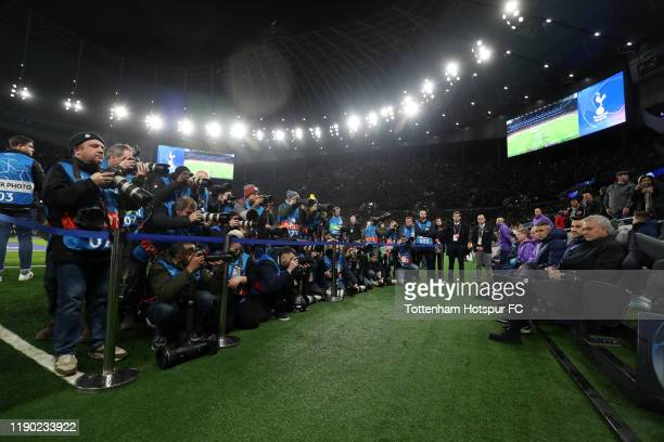 Jose Mourinho Manager of Tottenham Hotspur takes his seat in front of photographers prior to the UEFA Champions League group B match between...