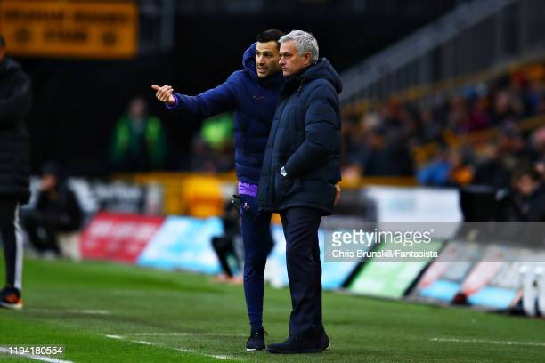 Jose Mourinho Manager of Tottenham Hotspur talks with Joao Sacramento Tottenham Hotspur Assistant Coach during the Premier League match between...