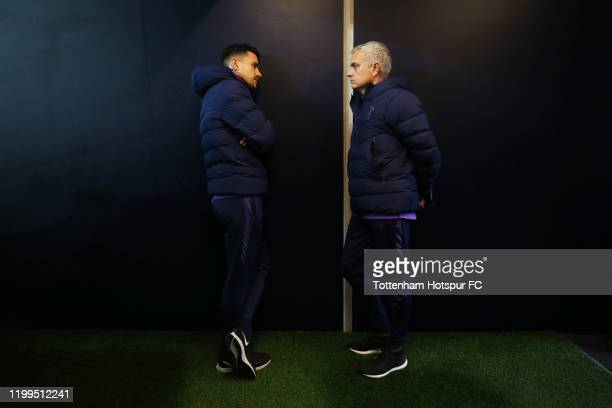 Jose Mourinho, manager of Tottenham Hotspur talks with Joao Sacramento, Assistant Coach of Tottenham Hotspur during the FA Cup Third Round Replay...