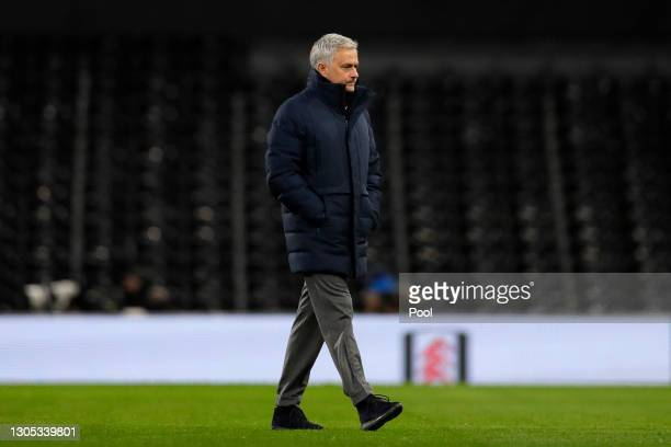 Jose Mourinho, Manager of Tottenham Hotspur walks out prior to the Premier League match between Fulham and Tottenham Hotspur at Craven Cottage on...