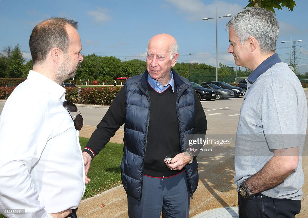 Jose Mourinho, new manager of Manchester United, is shown round the Aon Training Complex by Sir Bobby Charlton and Executive Vice Chairman Ed Woodward at Aon Training Complex on May 30, 2016 in Manchester, England.