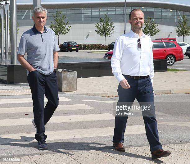 Jose Mourinho new manager of Manchester United is shown round the Aon Training Complex by Executive Vice Chairman Ed Woodward at Aon Training Complex...
