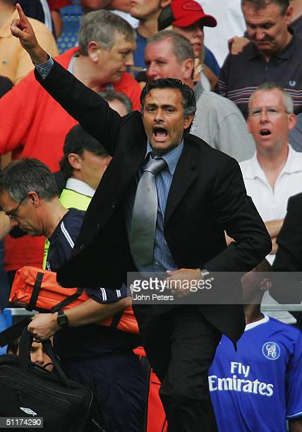 Jose Mourinho of Chelsea celebrates after the Barclays Premiership match between Chelsea and Manchester United at Stamford Bridge on August 15 2004...