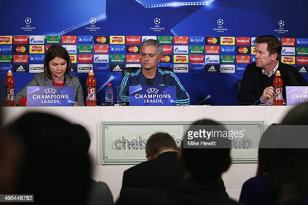 Jose Mourinho of Chelsea faces the media during a Chelsea press conference ahead of the UEFA Champions League Group G match between Chelsea and...