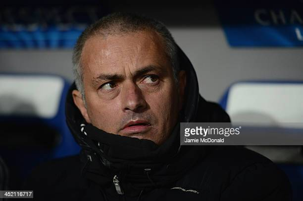 Jose Mourinho of Chelsea looks on during the UEFA Champions League Group E match between FC Basel 1893 and Chelsea at St JakobPark on November 26...