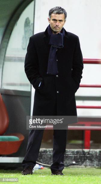Jose Mourinho of Chelsea looks onl during the UEFA Champions League match between CSKA Moscow and Chelsea at The Lokomotiv Stadium on November 2 2004...