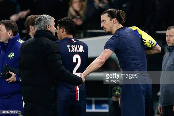 Jose Mourinho of Chelsea Zlatan Ibrahimovic of Paris Saint Germain during the champions laegue match between Paris Saint Germain and Chelsea at Parc...