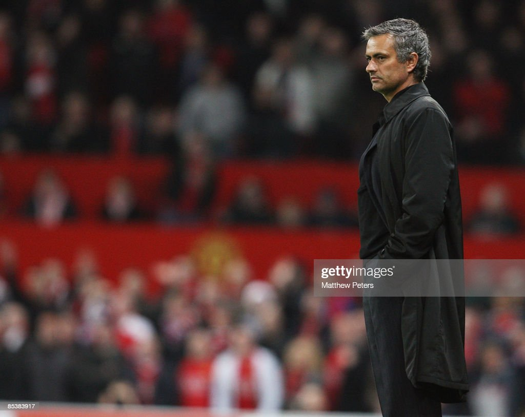 Jose Mourinho of Inter Milan looks disappionted at the final whistle of the UEFA Champions League First Knockout Round Second Leg match between Manchester United and Inter Milan at Old Trafford on March 11 2009, in Manchester, England.