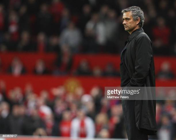 Jose Mourinho of Inter Milan looks disappionted at the final whistle of the UEFA Champions League First Knockout Round Second Leg match between...
