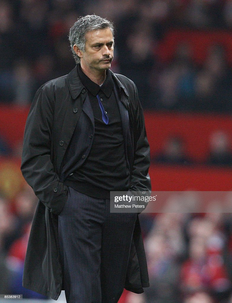Jose Mourinho of Inter Milan looks disappointed at the final whistle of the UEFA Champions League First Knockout Round Second Leg match between Manchester United and Inter Milan at Old Trafford on March 11 2009, in Manchester, England.