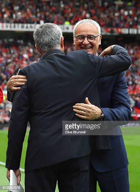 Jose Mourinho of Manager of Manchester United embraces Claudio Ranieri Manager of Leicester City before kick off during the Premier League match...