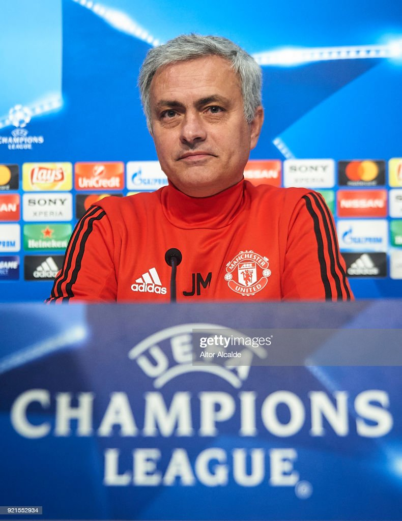 Jose Mourinho of Manchester United attends the press conference prior to their UEFA Champions match against Sevilla FC at Estadio Ramon Sanchez Pizjuan on February 20, 2018 in Seville, Spain.