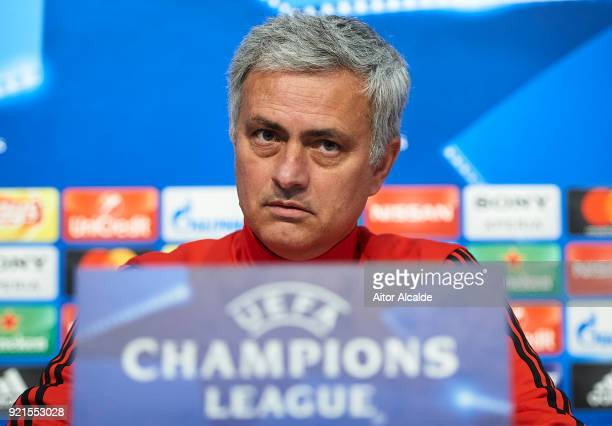 Jose Mourinho of Manchester United attends the press conference prior to their UEFA Champions match against Sevilla FC at Estadio Ramon Sanchez...