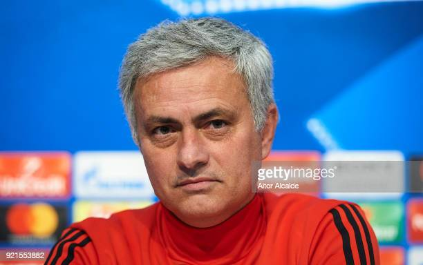 Jose Mourinho of Manchester United attends to the press conference prior to their UEFA Champions match against Sevilla FC at Estadio Ramon Sanchez...