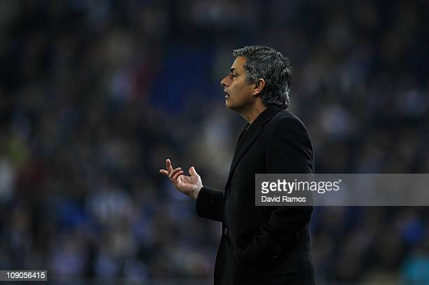Jose Mourinho of Real Madrid reacts during La Liga match between RCD Espanyol and Real Madrid at Estadi CornellaEl Prat on February 13 2011 in...