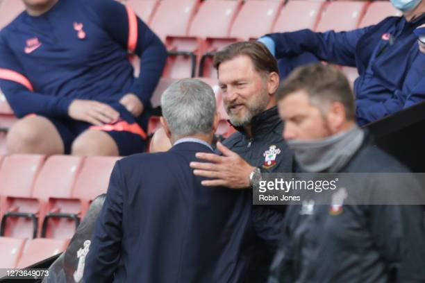 Jose Mourinho of Tottenham Hotspur and Ralph Hasenhuttl of Southampton before the Premier League match between Southampton and Tottenham Hotspur at...
