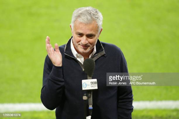Jose Mourinho of Tottenham Hotspur during interview with BBC Radio 5Live after the Premier League match between AFC Bournemouth and Tottenham Hotspur...