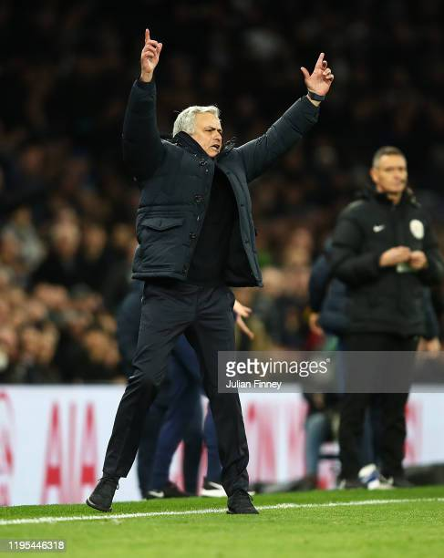 Jose Mourinho of Tottenham reacts during the Premier League match between Tottenham Hotspur and Chelsea FC at Tottenham Hotspur Stadium on December...