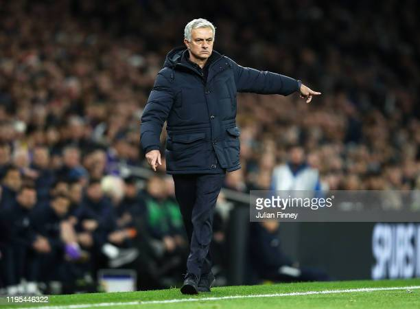 Jose Mourinho of Tottenham reacts during the Premier League match between Tottenham Hotspur and Chelsea FC at Tottenham Hotspur Stadium on December...