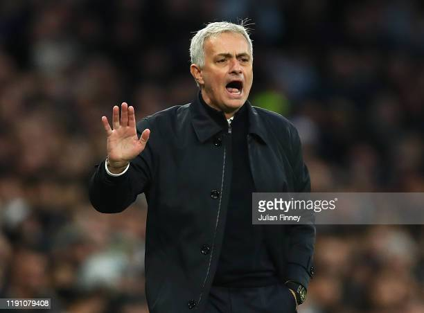 Jose Mourinho Spurs manager gives instructions during the Premier League match between Tottenham Hotspur and AFC Bournemouth at Tottenham Hotspur...