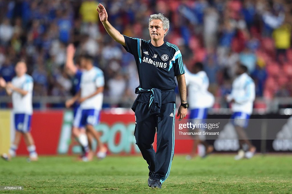 Jose Mourinho team manager of Chelsea FC acknowledges the fan during the international friendly match between Thailand All-Stars and Chelsea FC at Rajamangala Stadium on May 30, 2015 in Bangkok, Thailand.