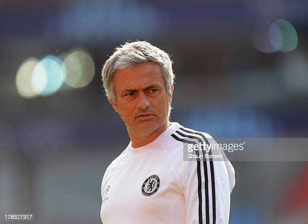Jose Mourinho the Chelsea coach during a training session prior to the UEFA Super Cup match between FC Bayern Munchen and Chelsea at Stadion Eden on...