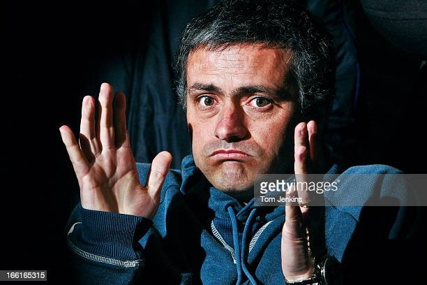 Jose Mourinho, the Chelsea FC manager, during a press conference at the Chelsea training ground on February 25th 2005 in Cobham, Surrey . An image...