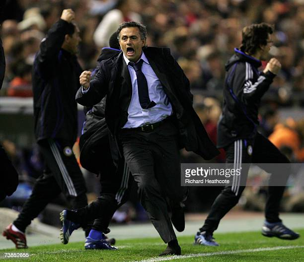 Jose Mourinho the Chelsea manager celebrates the second goal during the UEFA Champions League Quarter Final 2nd leg match between Chelsea and...