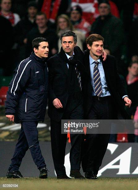 Jose Mourinho, the Chelsea manager, returns to the pitch at the end of the game after being sent off during the Carling Cup Final match between...