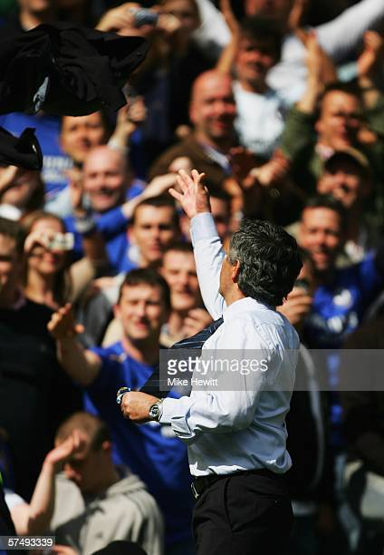 Jose Mourinho the Chelsea manager throws his jacket into the crowd after winning the Barclays Premiership title following the match between Chelsea...