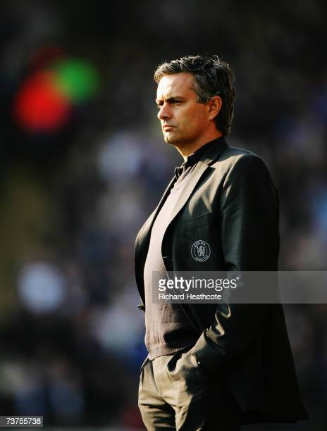 Jose Mourinho the Chelsea manager watches from the touchline during the Barclays Premiership match between Watford and Chelsea at Vicarage Road on...