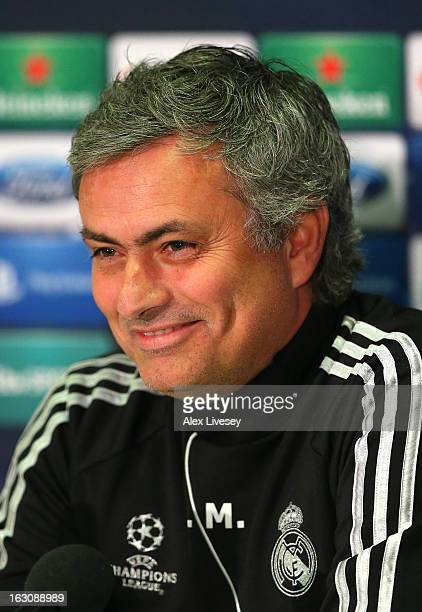 Jose Mourinho the coach of Real Madrid faces the media during a press conference at Old Trafford on March 4 2013 in Manchester England