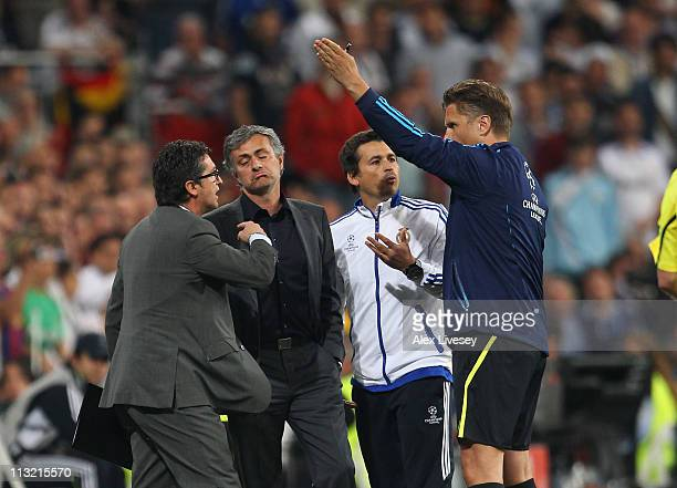 Jose Mourinho the coach of Real Madrid is sent off to the stands by Thorsten Kinhofer the fourth official during the UEFA Champions League Semi Final...