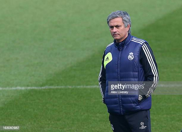 Jose Mourinho the coach of Real Madrid looks on during a training session at Etihad Stadium on March 4 2013 in Manchester England