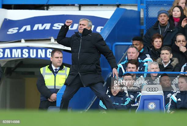 Jose Mourinho the head coach / manager of Chelsea gets angry in the first half