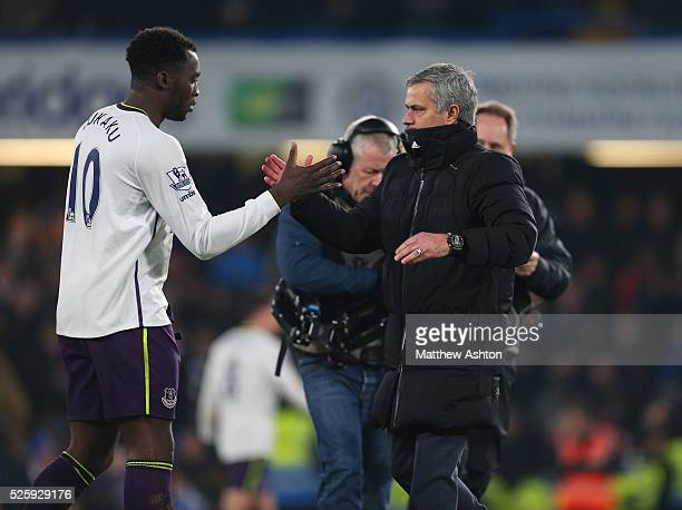 Jose Mourinho the head coach / manager of Chelsea with Romelu Lukaku of Everton at the end of the match