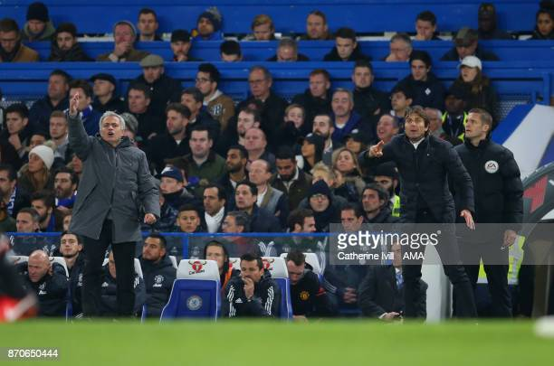 Jose Mourinho the head coach / manager of Manchester United and Antonio Conte manager / head coach of Chelsea during the Premier League match between...