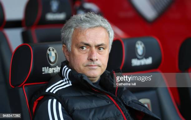 Jose Mourinho the head coach / manager of Manchester United during the Premier League match between AFC Bournemouth and Manchester United at Vitality...