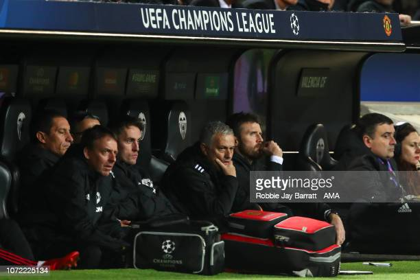 Jose Mourinho the head coach / manager of Manchester United looks on during the UEFA Champions League Group H match between Valencia and Manchester...