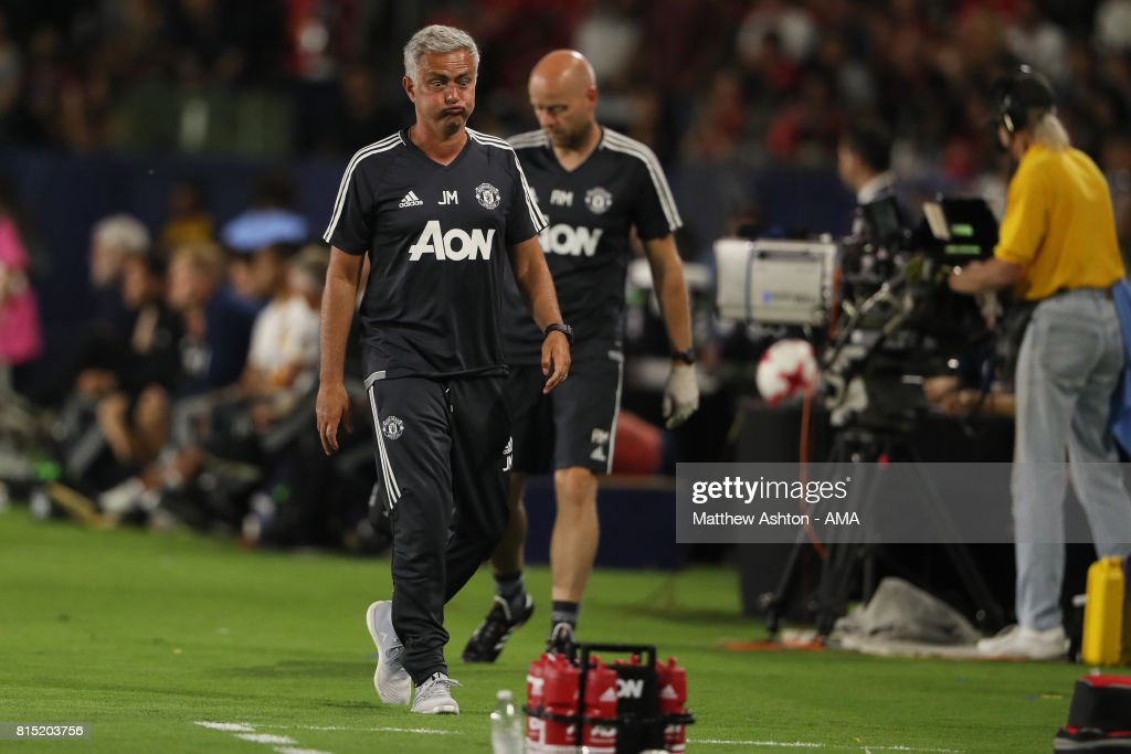 Jose Mourinho the head coach / manager of Manchester United reacts during to the friendly fixture between LA Galaxy and Manchester United at StubHub Center on July 15, 2017 in Carson, California.
