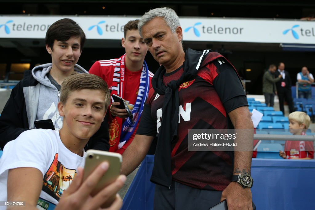 Jose Mourinho, the manager of Manchester United, before the game today between Valerenga and Manchester United at Ullevaal Stadion on July 30, 2017 in Oslo, Norway.