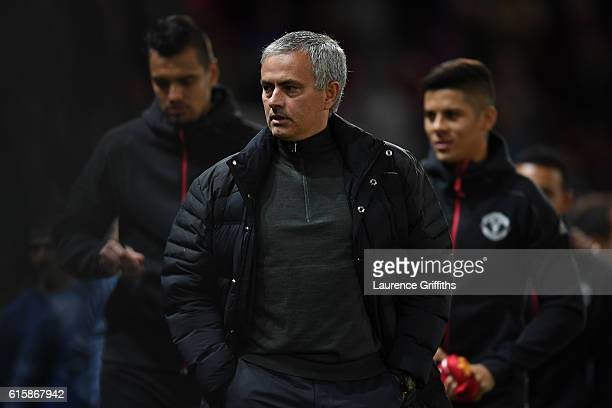 Jose Mourinho the manager of Manchester United walks to the dugout prior to kickoff during the UEFA Europa League Group A match between Manchester...