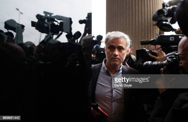 Jose Mourinho the Manchester United head coach enters a Madrid courthouse on November 3 2017 in Madrid Spain Mourinho is being investigated for...