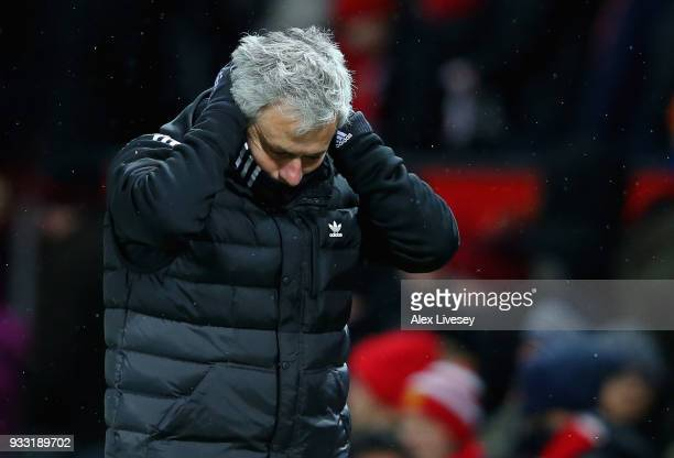 Jose Mourinho the Manchester United manager makes his way off of the field at half time during the Emirates FA Cup Quarter Final between Manchester...