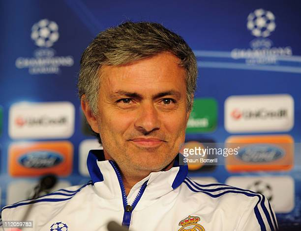 Jose Mourinho the Real Madrid manager talks to the media during a press conference on the eve of their UEFA Champions League quarterfinal second leg...