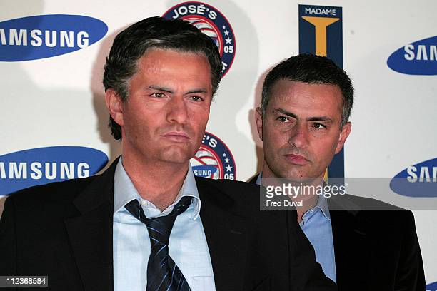 Jose Mourinho with his waxwork during Jose Mourinho Becomes the First Premiership Manager to be Featured at Madame Tussauds at Madame Tussauds in...