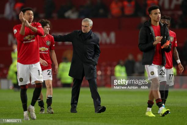 Jose Mourino the head coach / manager of Tottenham Hotspur walks off after losing 2-1 during the Premier League match between Manchester United and...