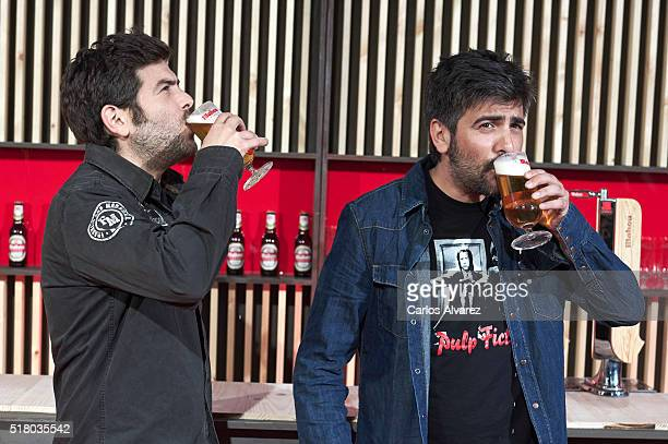 Jose Munoz and David Munoz of Estopa attend the Mahou Spot presentation at the Capitol cinema on March 29 2016 in Madrid Spain